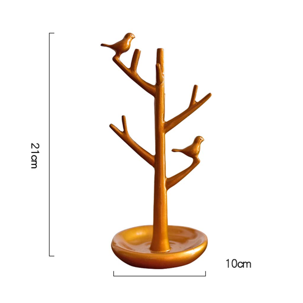 Jewelry Rack-Resin Jewelry Rack Storage Rack Tree Shape Bird Key Frame Porch Decoration Decoration Gift Ornaments for Home 2110 (Color : A)