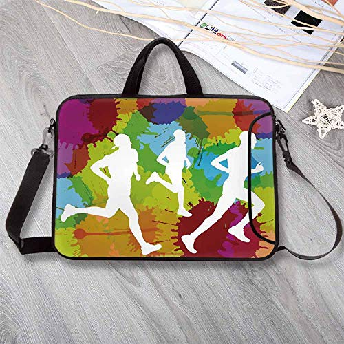 "Fitness Neoprene Laptop Bag,Runners Silhouettes on Watercolor Splashes Jogging Outdoors Sportsman Marathon Decorative Laptop Bag for Office Worker Students,12.6""L x 9.4""W x 0.8""H"
