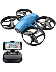 Potensic A30W FPV Drone with Camera, Mini RC Nano Quadcopter with Camera, Auto Hovering, Route Setting, Gravity Induction Mode and 500mAh Detachable Battery (Blue)