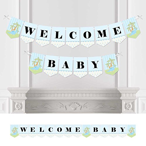 Baby Boy Dinosaur - Baby Shower Bunting Banner - Blue Party Decorations - Welcome Baby