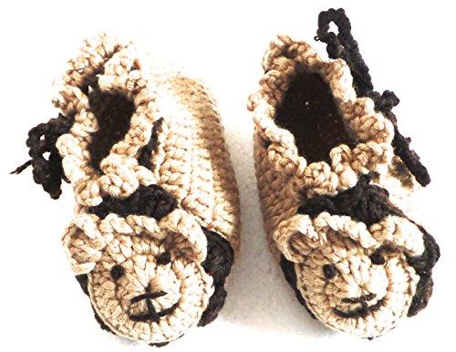 BB. 113–Hausschuhe Schuhe Baby Kinder 6–9Monate Gr. 18–Löwe braun–Haken Handarbeit