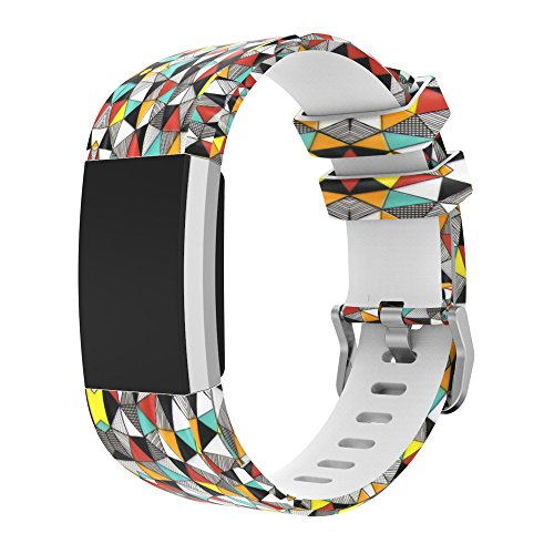 - Novania Geometric Spraying Silicone Wristband Replacement for Fitbit Charge 2 Wrist Strap (C)