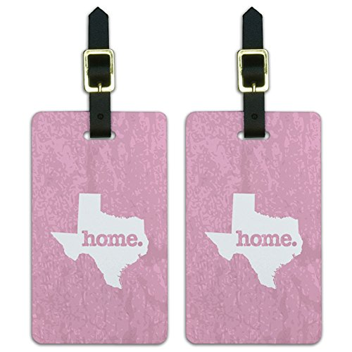 (Texas TX Home State Luggage Suitcase ID Tags Set of 2 - Textured Light Pink)