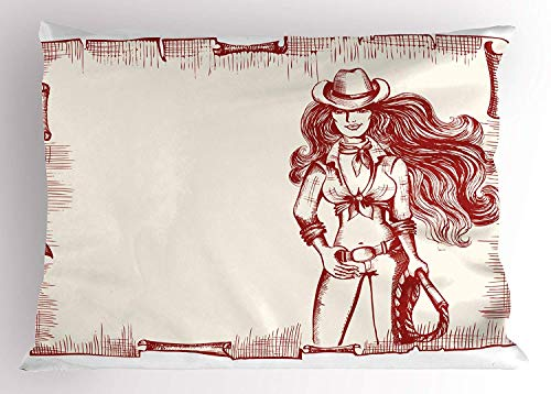 K0k2t0 Western Pillow Sham, Sexy Young Cowgirl with Lasso Old Paper Style Background Hairstyle Vintage Frame, Decorative Standard Queen Size Printed Pillowcase, 30 X 20 inches, Ruby White ()