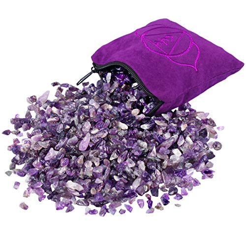 SUNYIK Natural Amethyst Tumbled Chip Stone, Third Eye Chakra Crystal Pillow for Healing Reiki, Sphere Sculpture Figurine Point Display Stand