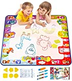 KIZZYEA Water Doodle Mat,Kids Toys Large Aqua Drawing Mat Toddlers Painting Board Neon Colors,Gifts Girls Boys Age 2 3 4 5+ Year Old,30'' X 30'',4 Pens,Drawing Molds Booklet Included