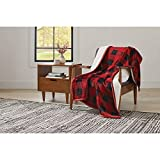 Better Homes and Gardens Super Soft and Warm Winter Velvet Plush Reversible to Sherpa Throw Blanket, Fun Prints with Solid Cream Back, 50' x 60' (Red Plaid)