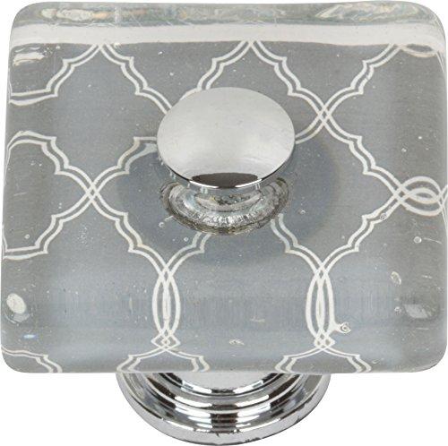 (Atlas Homewares 3234-CH Dream Glass Quatrefoil Square Knob, Polished)