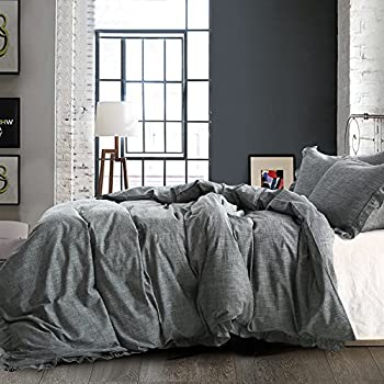 cover ac duvet pieces amazon ntbay ruffles dp linen design com covers set solid exquisite grey color with breathable