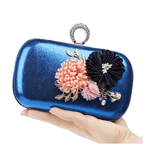 Shoulde Party Elegant Womens Multi Fashion Together Handmade Banquet Get Flowers Bag Clutch Blue functional Tote Bags wppqH1O