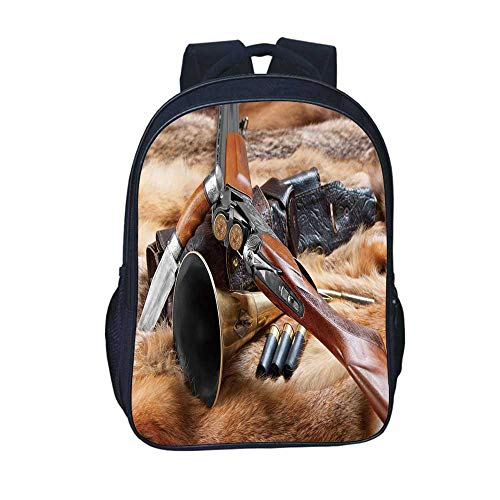 Hunting Decor Durable Backpack,Hunting Materials on Fur Rifle Ammunition Cartridge Knife Sheath Decorative for School Travel,11.8