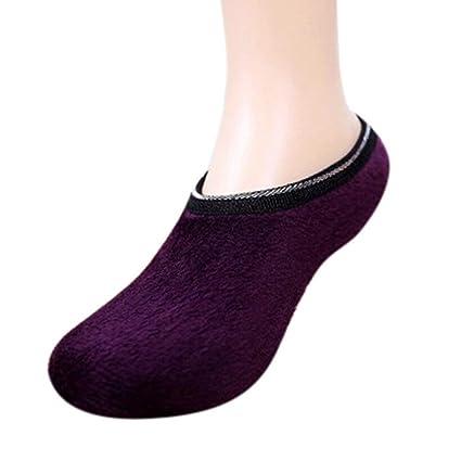 ZHRUI Calzado Antideslizante Calcetines Botas Calcetines Zapatillas, Mujeres niñas Antideslizantes Zapatilla Polar cálidos Pinzas Zapatillas