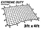 3ft x 4ft PowerTye Mfg EXTREME Duty 6mm Bungee Elastic Cargo Net, Stretches to 54'' x 72'', 18 Large Latch Hooks, Black