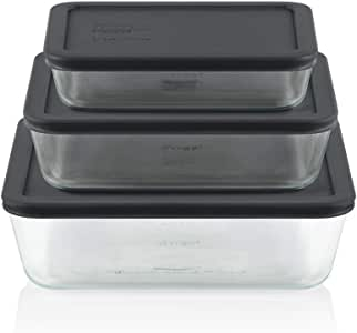 Pyrex 1136062 Simply Store 6 Piece Rectangle Set (1 x 3 Cup, 1 x 6 Cup, 1 x 11 Cup Rectangle with Grey BPA Free Plastic Lids)