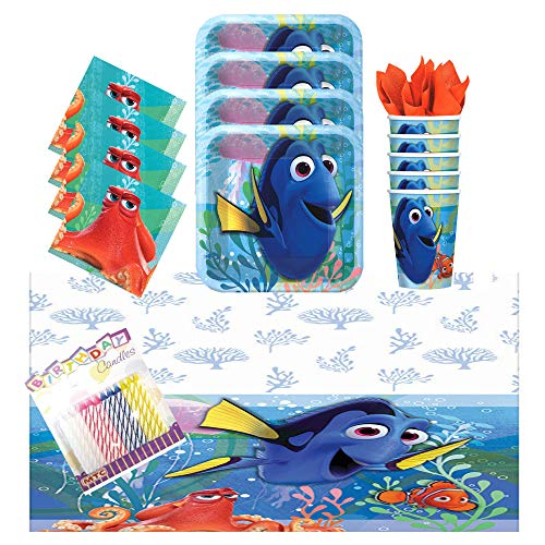(Lobyn Value Pack Finding Dory Party Supplies Pack Serves 16: Dessert Plates, Beverage Napkins, Cups, Table Cover, and Birthday Candles)
