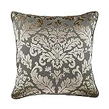 "Luxury Grey Euro Pillow Covers, 26""x26"" Euro Sham, Damask Euro Pillow Shams, Burnout Velvet Euro Pillow Shams, Floral Contemporary Euro Shams - Gray Silver Damask"