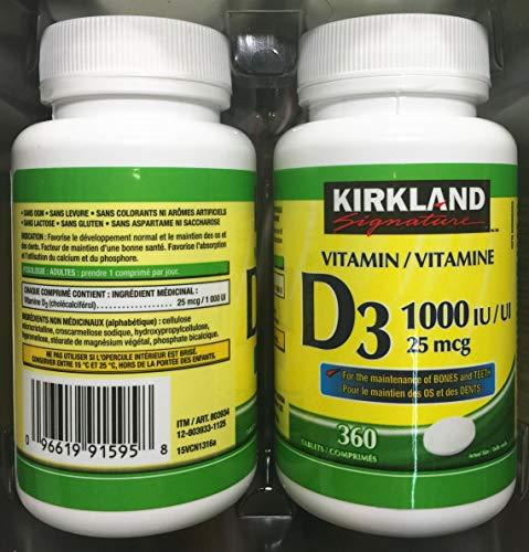 (Twin Pack) 2 x Kirkland Signature Vitamin D3 1000IU/25mcg, 360 tablets