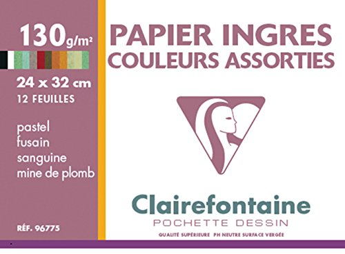 Clairefontaine 24 x 32 cm Ingres Pastel Paper, 130 g, 12 Sheets