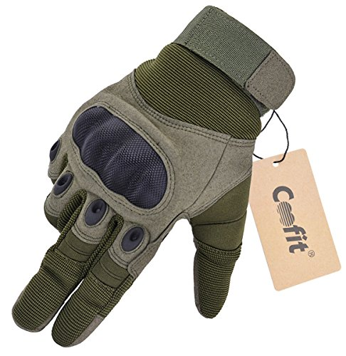 Coofit Sport Handschuhe Winter Motorrad Handschuhe Herren Vollfinger Gloves Biking Skifahre Handschuhe (Grün, L)