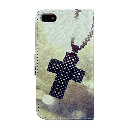 Bayke Brand / New iPhone 5C Case , PU Leather Wallet Case - Cross Necklace Pendants Pattern