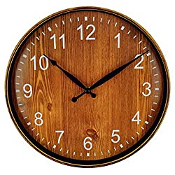 Foxtop Large Decorative Wall Clock - Universal Non-Ticking Wall Clock Mute Quiet Sweep Movement Country Style 12 inch