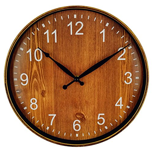 Wood Pool Clock (Foxtop Large Decorative Wall Clock - Universal Non-Ticking Wall Clock Mute Quiet Sweep Movement Country Style 12 inch)