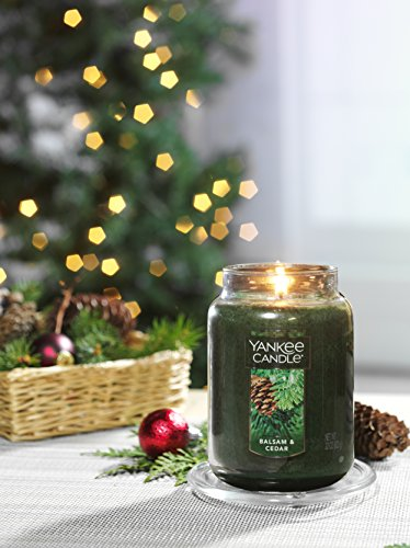 Yankee Candle Balsam & Cedar Large Jar Candle, Festive Scent, Green