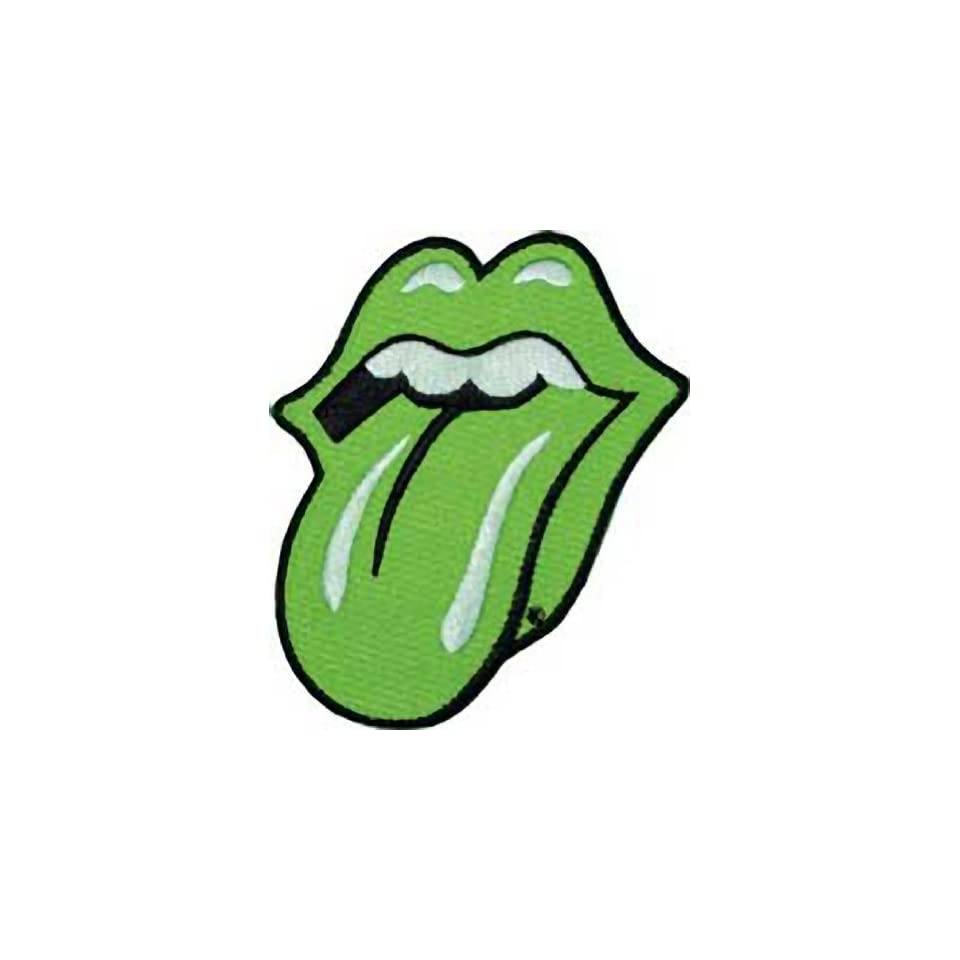 THE ROLLING STONES GREEN TONGUE EMBROIDERED PATCH