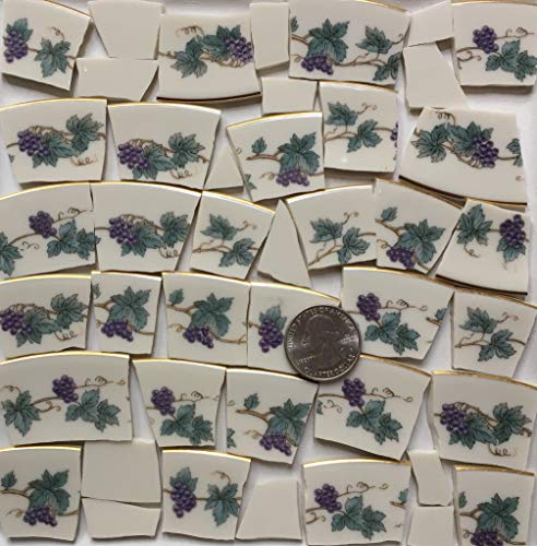 Mosaic Art & Craft Supply ~ Gold Rim Purple Grapes & Green Leaf Tiles (T#A164) ()