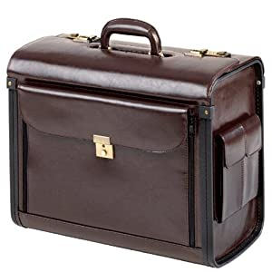 51YZtVzdoQL. SS300  - Pilot Case Leather Brown XL with Number Lock Front Side Pocket