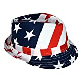 us gold bar - HDE USA American Flag Stingy Short Brim Trilby Fedora Hat Cap