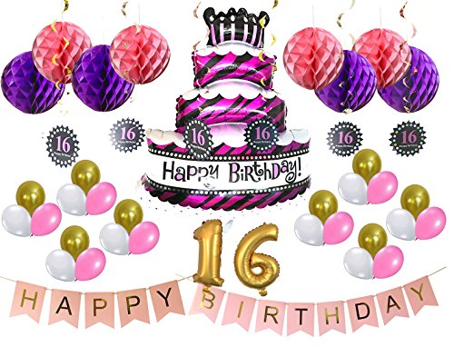 Pastel And Gold Happy 16th Birthday Decorations Bunting Banner Mylar Foil Balloon Cute Cake Helium With Pink Color Bundle