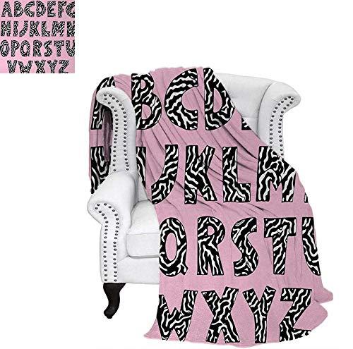 Throw Blanket Funky Letters Written in Zebra Skin Stripes Animal Theme Design Velvet Plush Throw Blanket 50