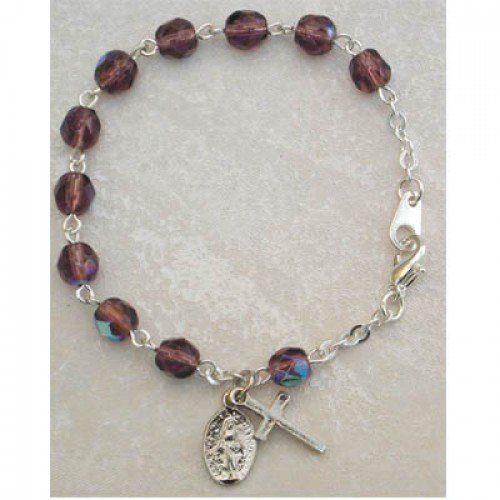 (Youth Childrens Girls Rosary Bracelet Birthstone Dark Purple Amethyst Beads February Birthstone. Perfect for Christmas, Church, First Communion, Easter, Graduation, Sunday Dress, Easter or Birthday)