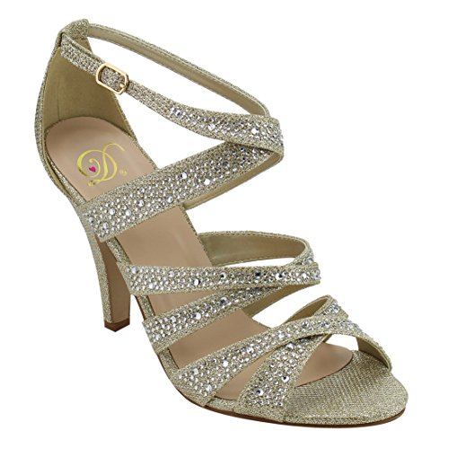 Dance Strappy Sandals (Delicious Women's peep toe rhinestone glitter crossing strap dance sandals MVE Shoes mve shoes anika gold size 7.5)