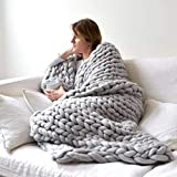 VIYEAR Chunky Knit Blanket Soft Handmade Knitting Throw for Bedroom Sofa Decor Super LargeGray, 32