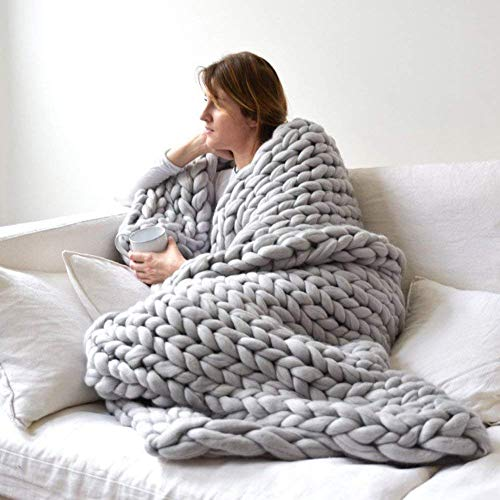 VIYEAR Chunky Knit Blanket Soft Handmade Knitting Throw for Bedroom Sofa Decor Super Large, Gray, 40