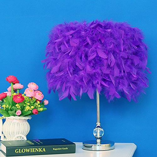 Injuicy Modern Feather Lampshade E27 Led Crystal Metal Table Lights American Wedding Birthday Desk Lamps Study Living Rooms Bedrooms Bedside Hotel Gift (Purple & Dia.11 Inch)
