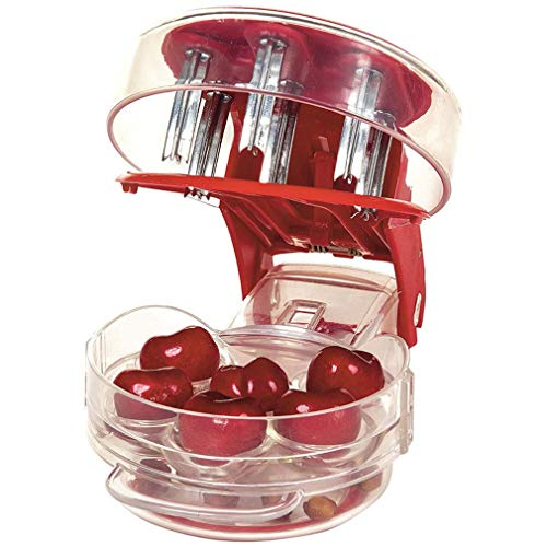 PCTC Cherry Pitter Tool Heavy-Duty Cherry Pitter Remover, Olive Pitter Tool - 6 Cherries, Red Color