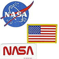 Nasa Blue Logo USA Flag Nasa White-Red Vector Space Shuttle Jacket DIY Embroidered Halloween Costume Badge Set of 3 Easy Iron/Sew On Patch
