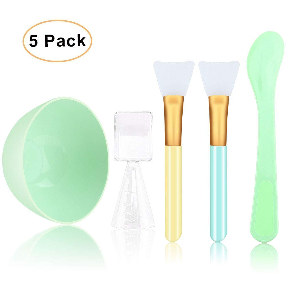 Face Mask Mixing Bowl Kit - Silicone Facemask Brush + Stick Spatula Applicator + Liquid Powder Measuring Cup, Cosmetic Tool for Clay Mud Masks, Facial Water Treatment SPA Salon, Skin Body Care (Green)