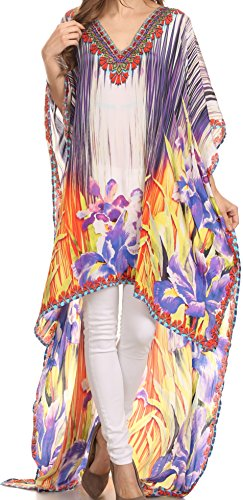 Sakkas SS1619 KF5033A - HiLowKaftan Laisson Hi Low Caftan Dress Top Cover/Up Fit with Printed Pattern - Orange Purple/Multi - OS
