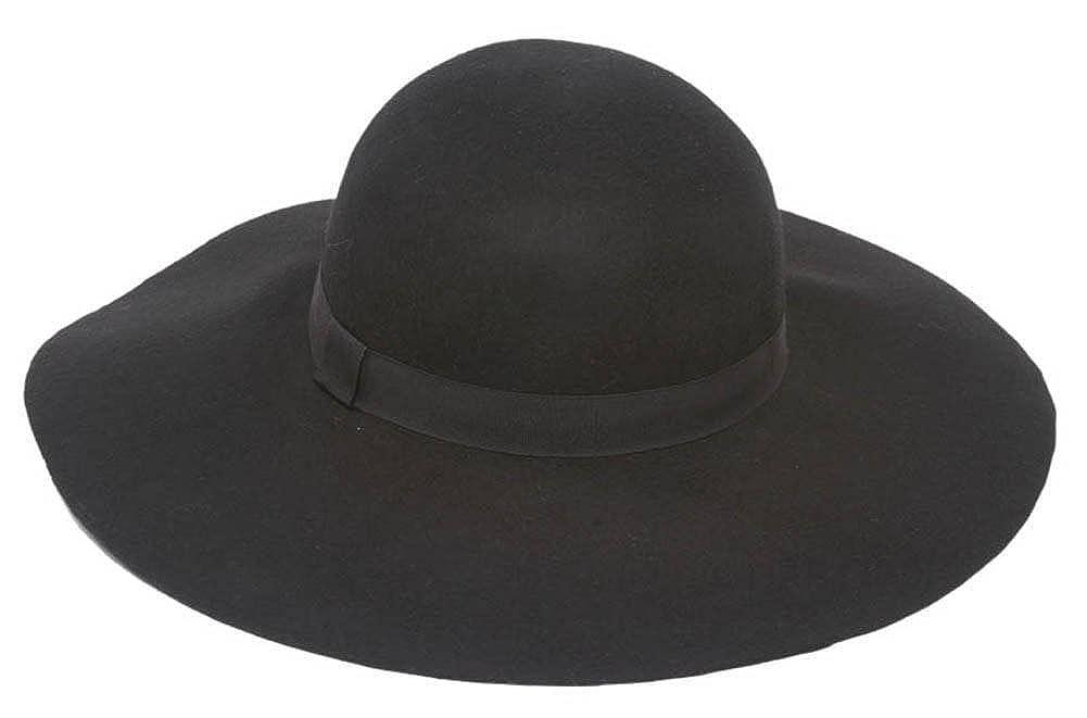 1fe0bcb7f46 Wool Felt Wide Brim Sun Hat with Band - Black at Amazon Women's Clothing  store: