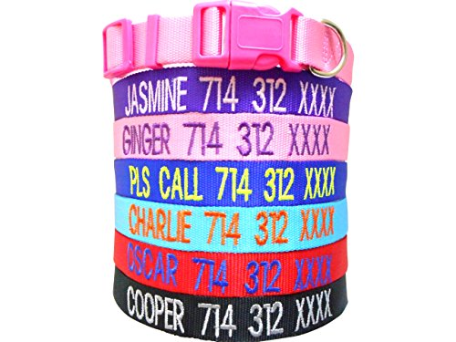 Mix Paws TM - Personalized Customized Embroidered Dog Name Adjustable Nylon Collar For Dog, Pet, Puppy, Black, Red, Pink, Purple