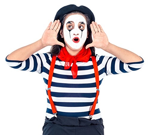 Women's Mime Costume Set with Makeup Kit (Adult X-Large)
