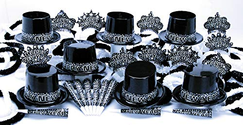 Unbranded New Year's Eve Party Kit for 50 People 25 Black Plastic Top Hats 25 Tiaras 50 Horns 25 Poly Hawaiian -