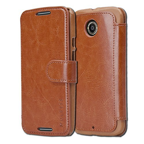 Motorola Moto X (2nd Gen, 2014) Case Wallet - Mulbess [Layered Dandy][Coffee Brown] - [Slim][Wallet Case] - Premium Leather Flip Case With Credit Card Slot for Motorola Moto X (2nd Generation)
