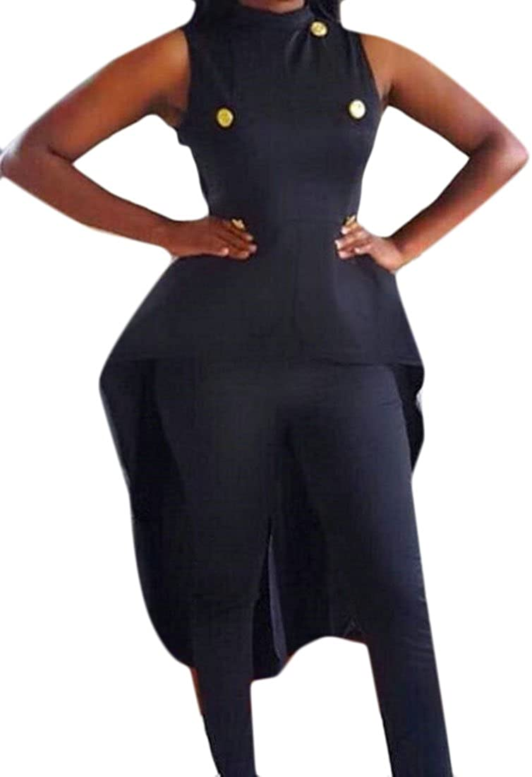 CRYYU-Women Plus Size Solid Tuxedo Sleeveless High Neck Midi ...