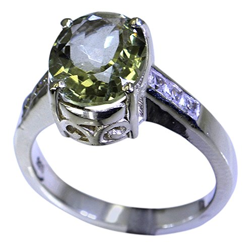 - Jewelryonclick Genuine Green Amethyst Sterling Silver Engagement Rings For Women Size 5,6,7,8,9,10,11,12