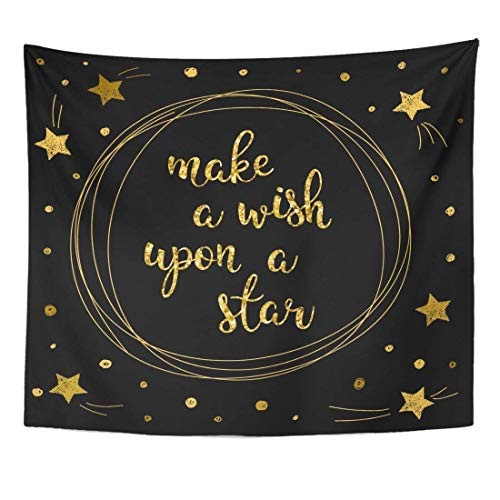 Tapestry Doodle Wish and Dream Golden Star Letters Black Book Album Good Night Sweet Hipster Shimmer Home Decor Wall Hanging for Living Room Bedroom Dorm 50x60 inches